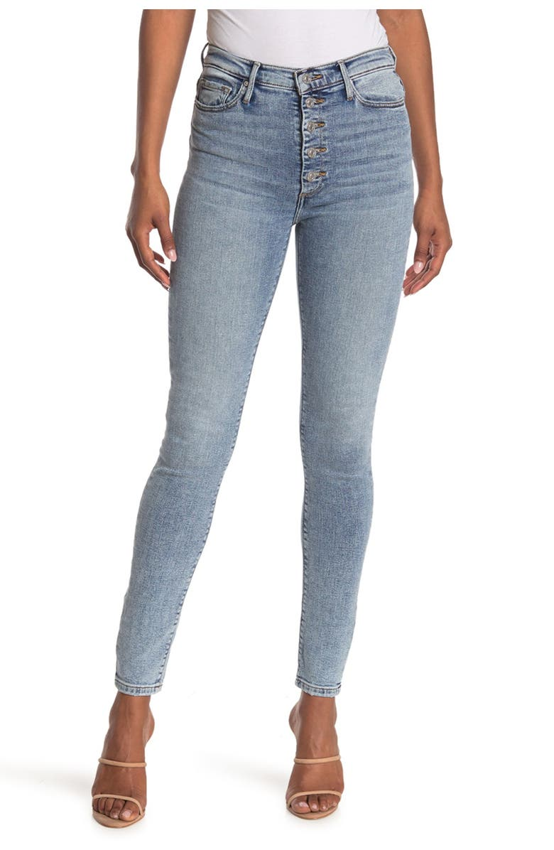 BLACK ORCHID Christie Button Fly Super High Rise Skinny Jeans, Main, color, OCEAN EYES