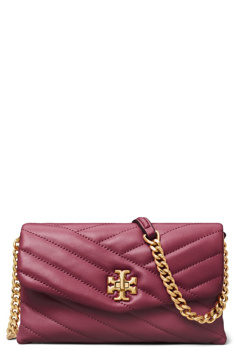 TORY BURCH Kira Chevron Quilted Leather Wallet on a Chain, Main, color, REDSTONE/ ROLLED BRASS