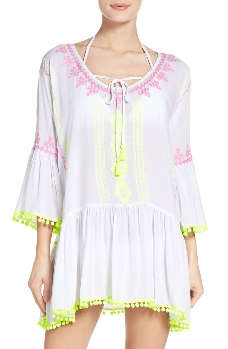SURF GYPSY Cover-Up Tunic, Main, color, WHITE/YELLOW/PINK