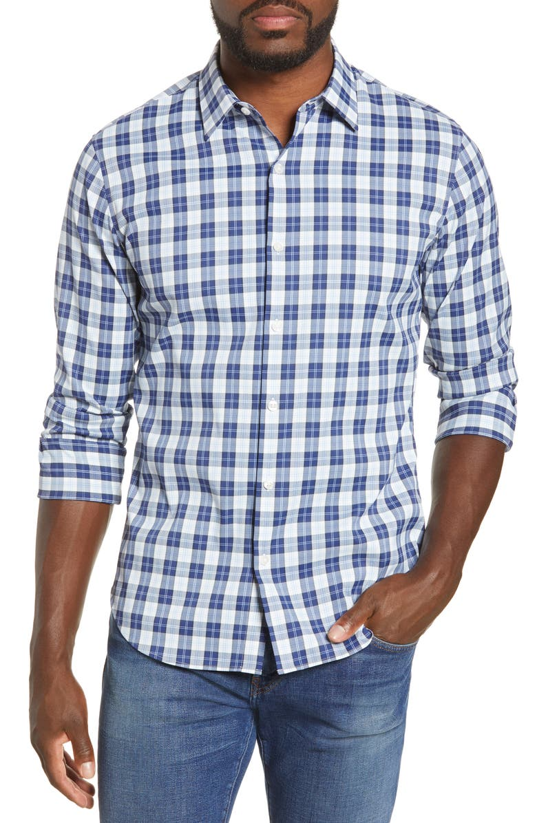 BONOBOS Slim Fit Plaid Button-Up Tech Shirt, Main, color, 400