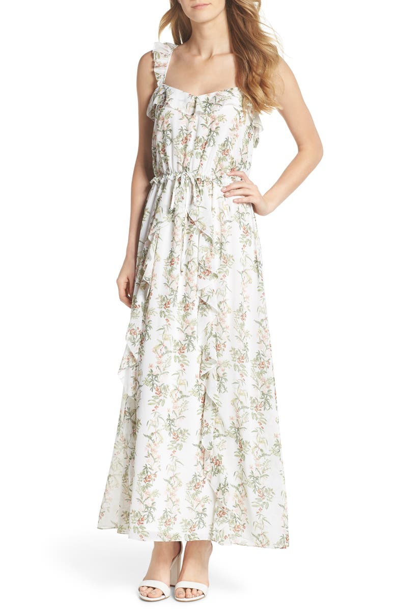 GAL MEETS GLAM COLLECTION Isabella Floral Stripe Cross Back Maxi Dress, Main, color, ECRU/ ROSE