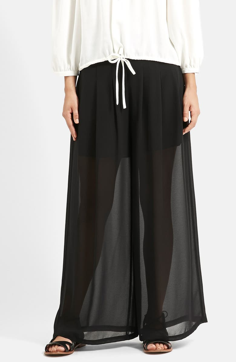 TOPSHOP KENDALL + KYLIE at Topshop Wide Leg Palazzo Trousers, Main, color, 001