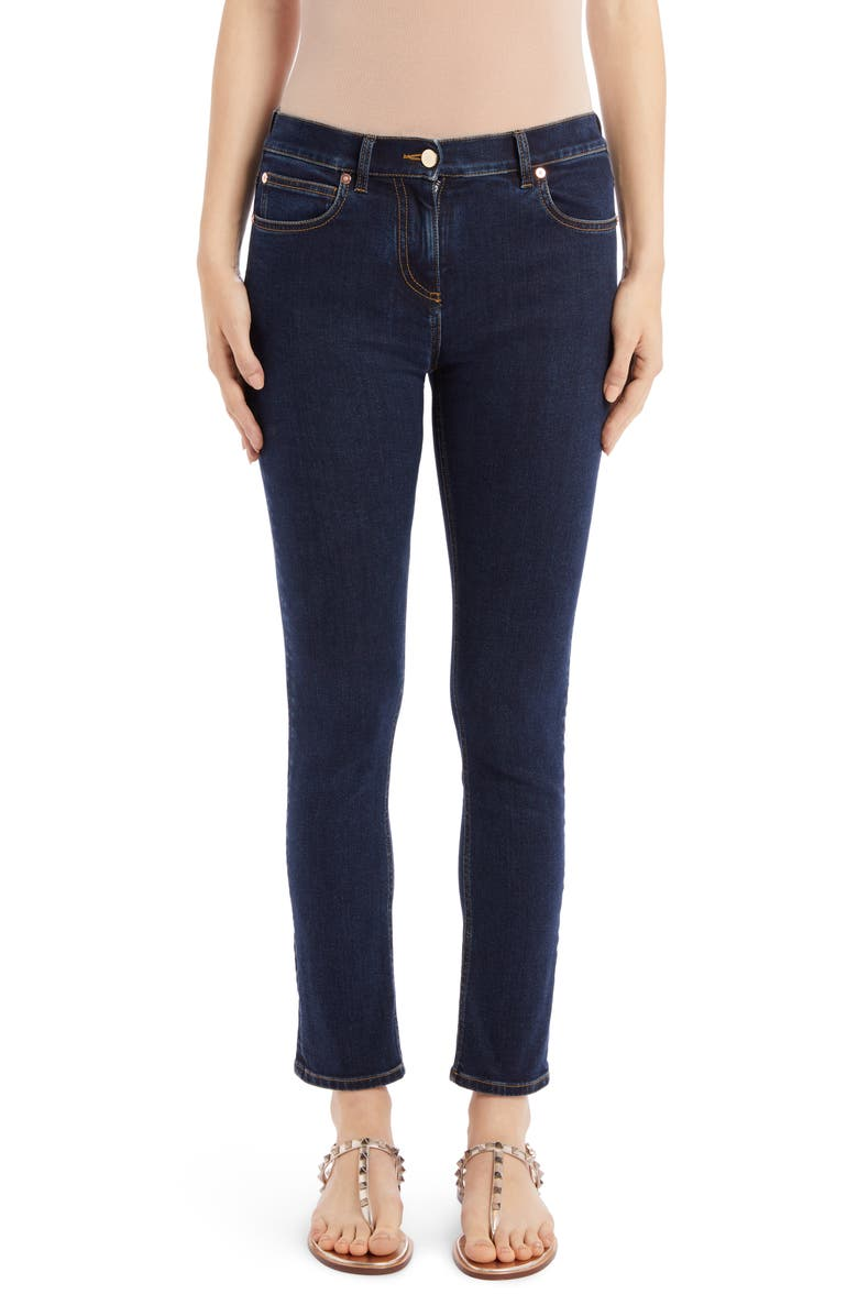 VALENTINO VLOGO Pocket Skinny Jeans, Main, color, 400