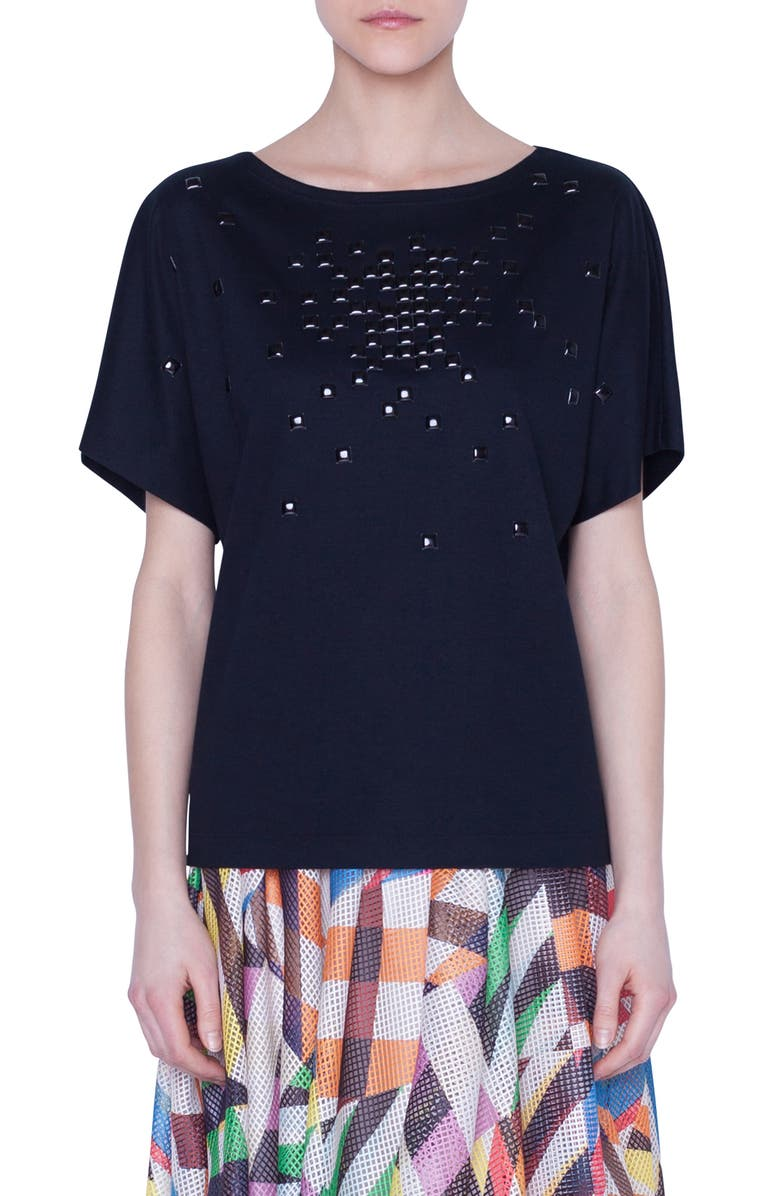 AKRIS PUNTO Pixel Stud Embellished Tee, Main, color, 001