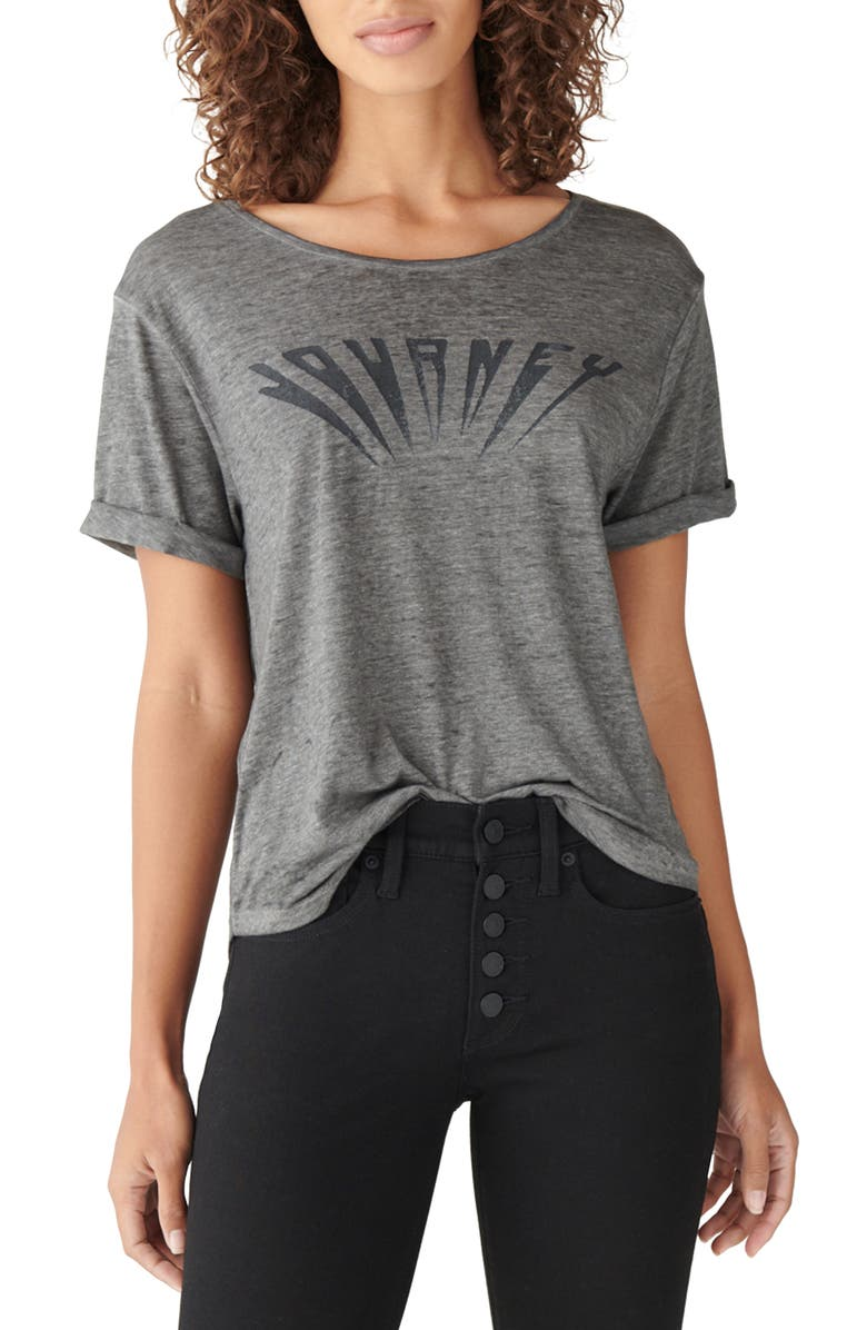 LUCKY BRAND Journey Cotton Blend Graphic Tee, Main, color, BLACK MOUN