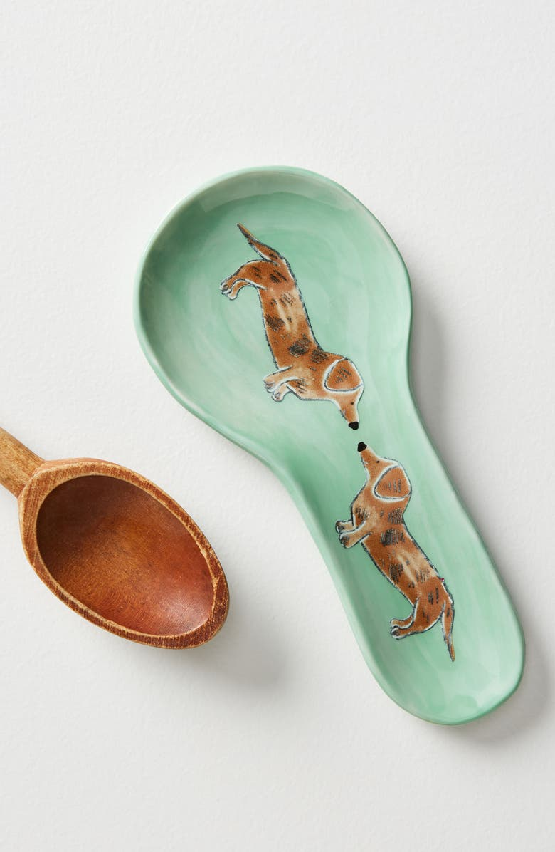 ANTHROPOLOGIE HOME Anthropologie Painted Pup Stoneware Spoon Rest, Main, color, 440