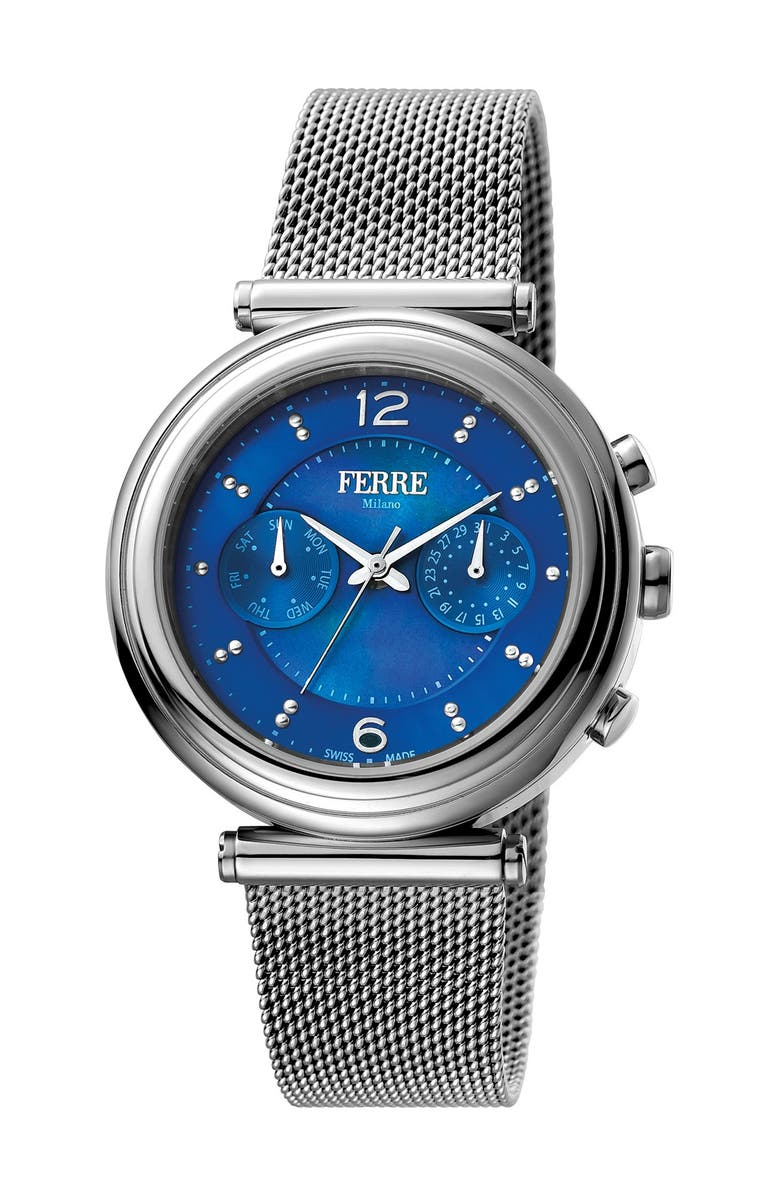 FERRE MILANO Women's Stainless Steel Watch, 36mm, Main, color, SILVER