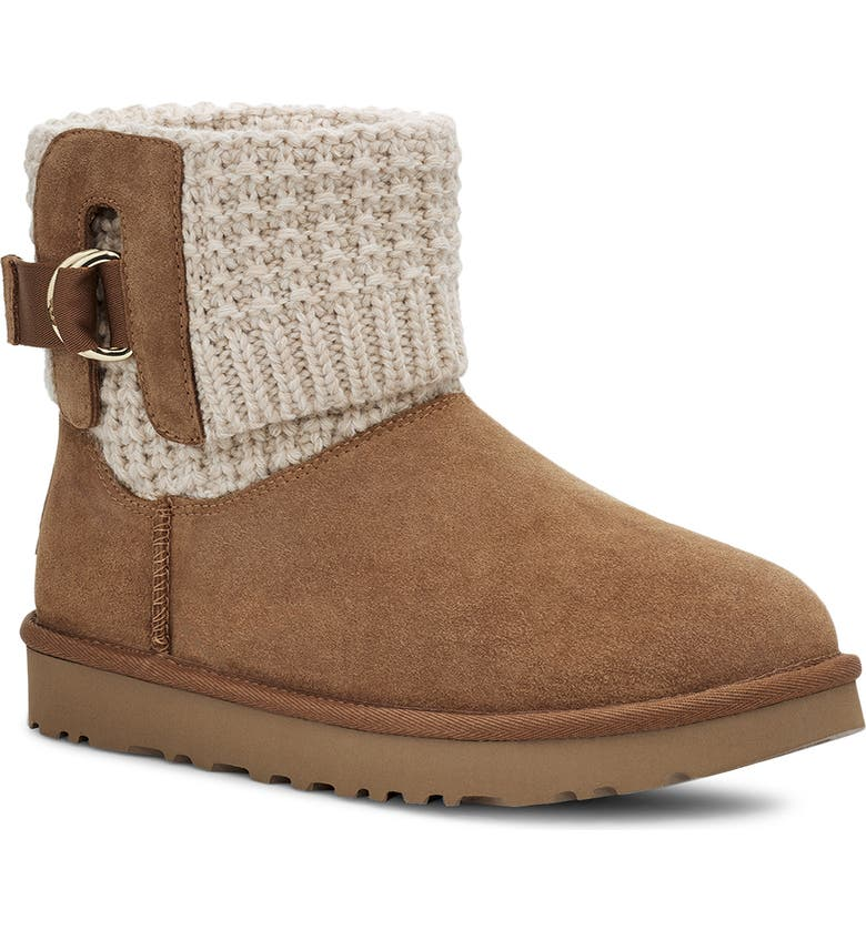UGG<SUP>®</SUP> Mini Classic Solene Boot, Main, color, CHESTNUT/ OATMEAL SUEDE
