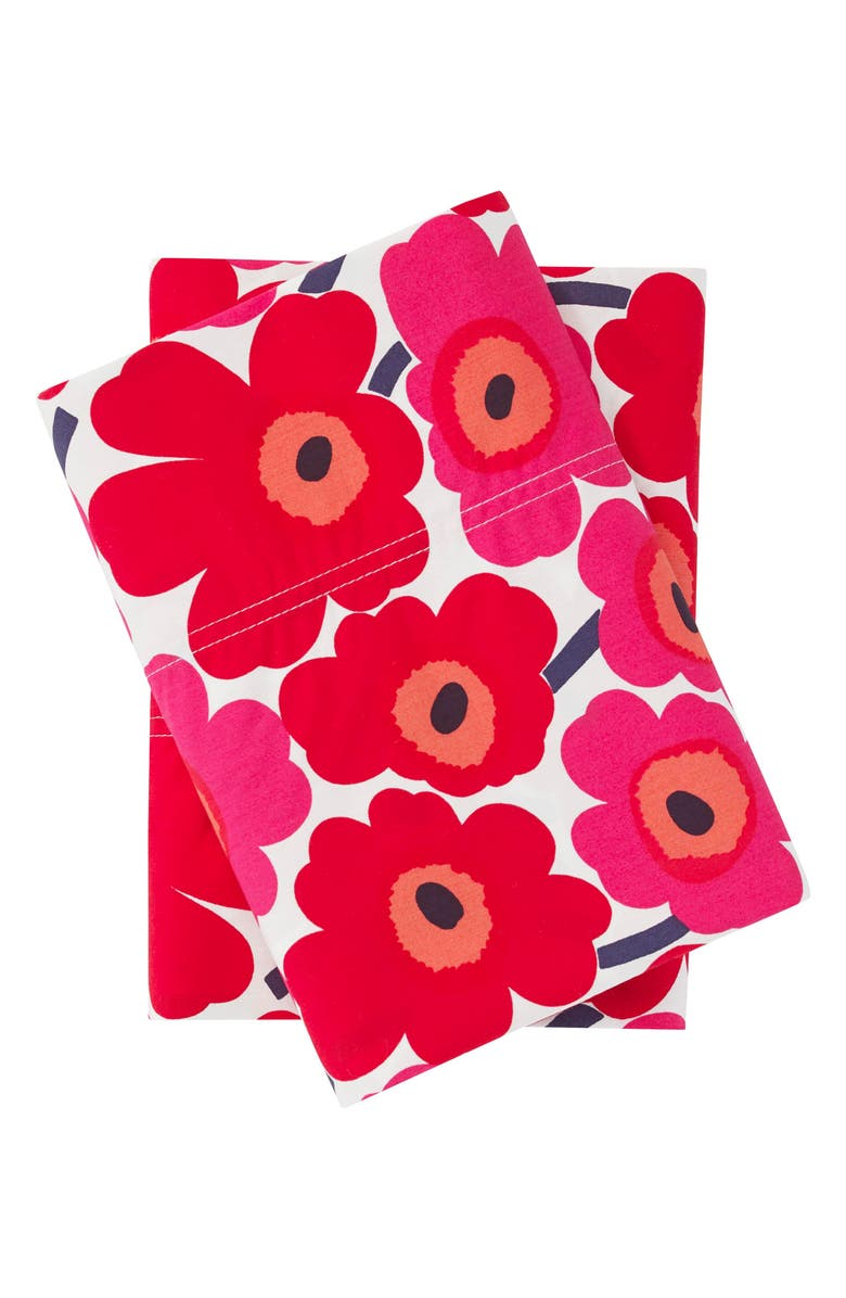 MARIMEKKO Mini Unikko 200 Thread Count Dark Red Pillowcases, Main, color, DARK RED