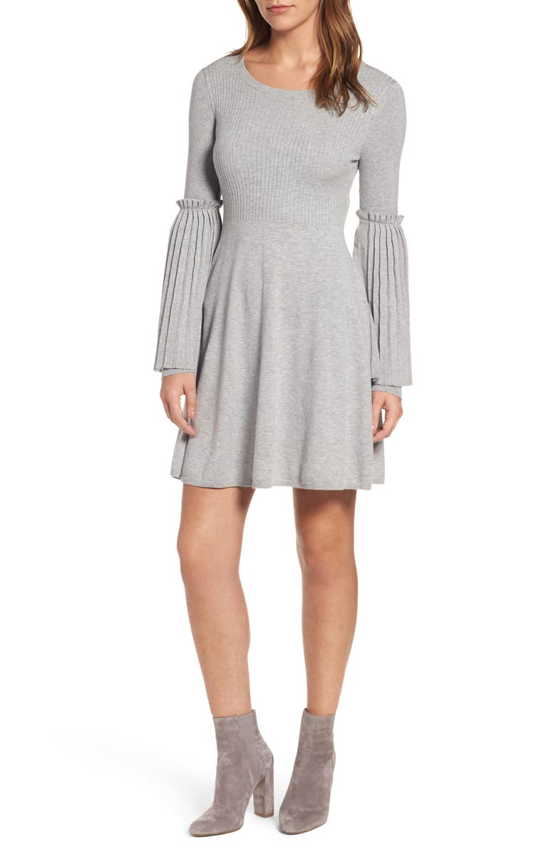 CHELSEA28 Bell Sleeve Sweater Dress, Main, color, GREY HEATHER