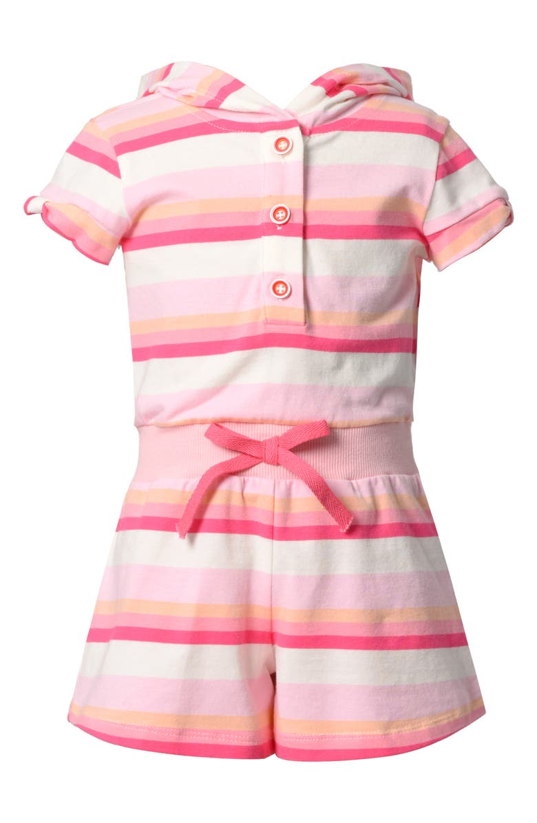 TRULY ME Kids' Stripe Hooded Romper, Main, color, PINK MULTI