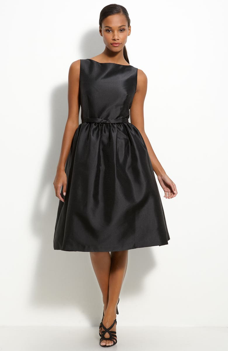 TAYLOR DRESSES Belted Twill Fit & Flare Dress, Main, color, 001
