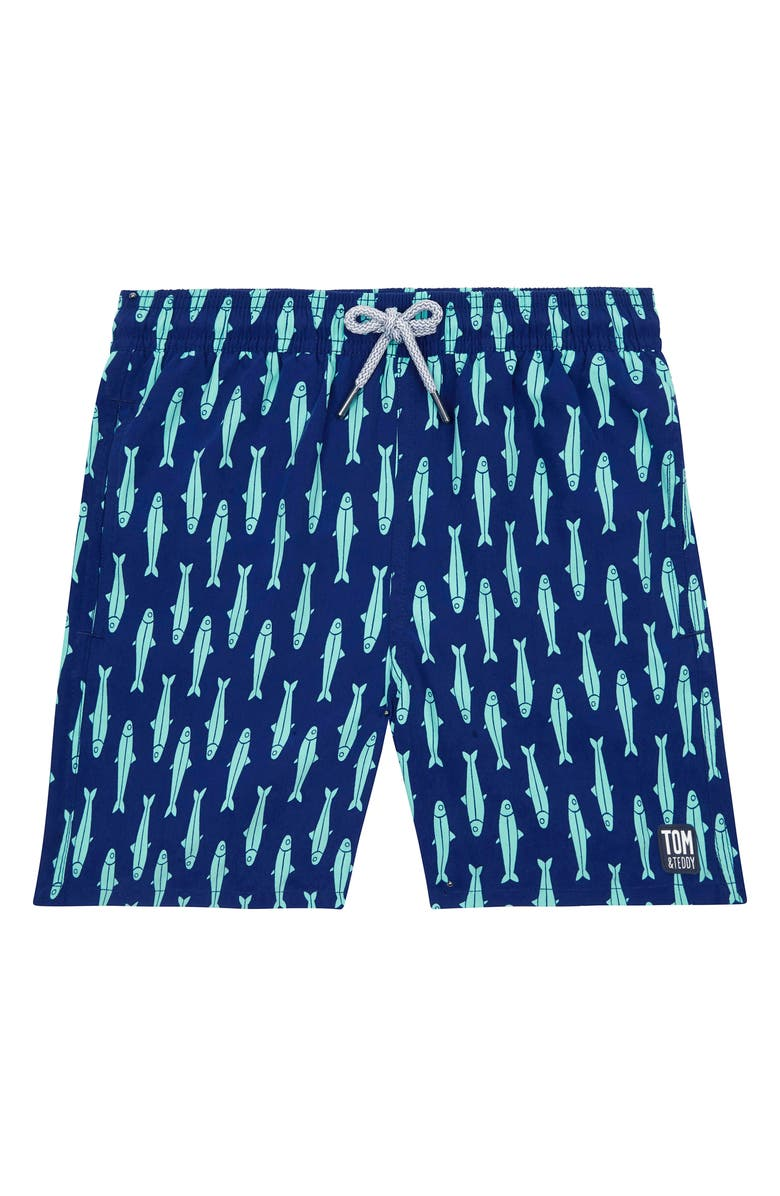 TOM & TEDDY Kids' Fish Print Swim Trunks, Main, color, INK BLUE AND GREEN