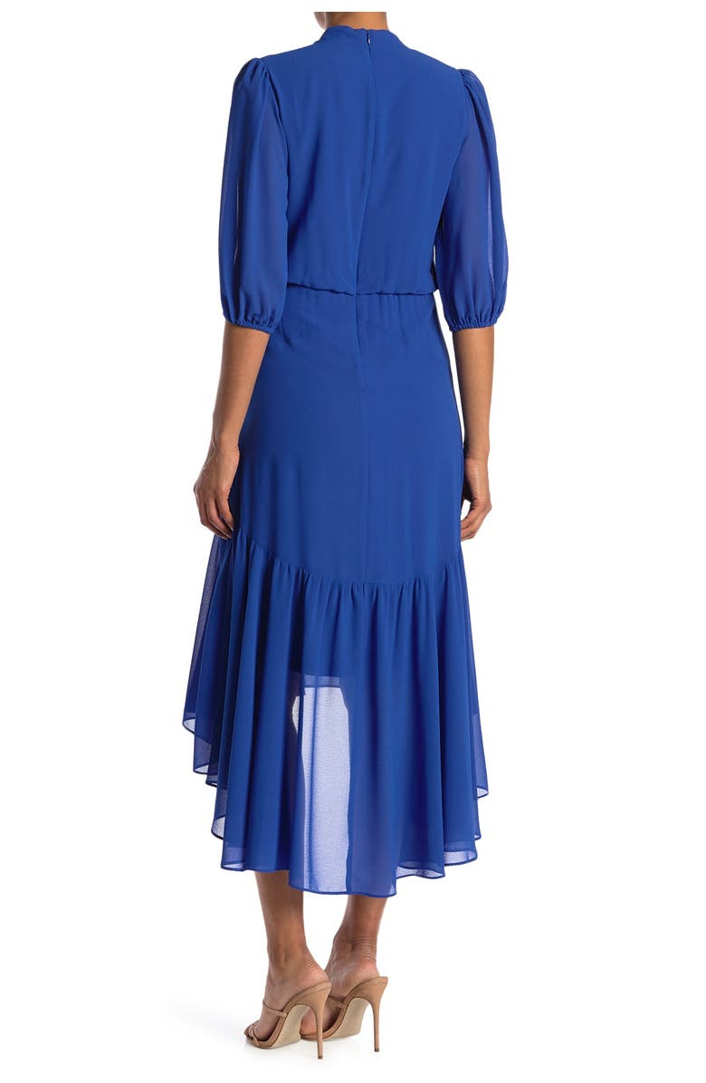 TAYLOR DRESSES V-Neck Puff Sleeve Low Tiered Dress, Main, color, AZURE