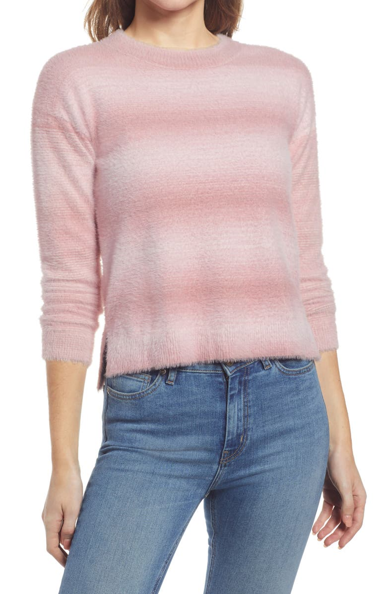 BOBEAU Crewneck Stripe Sweater, Main, color, PINK