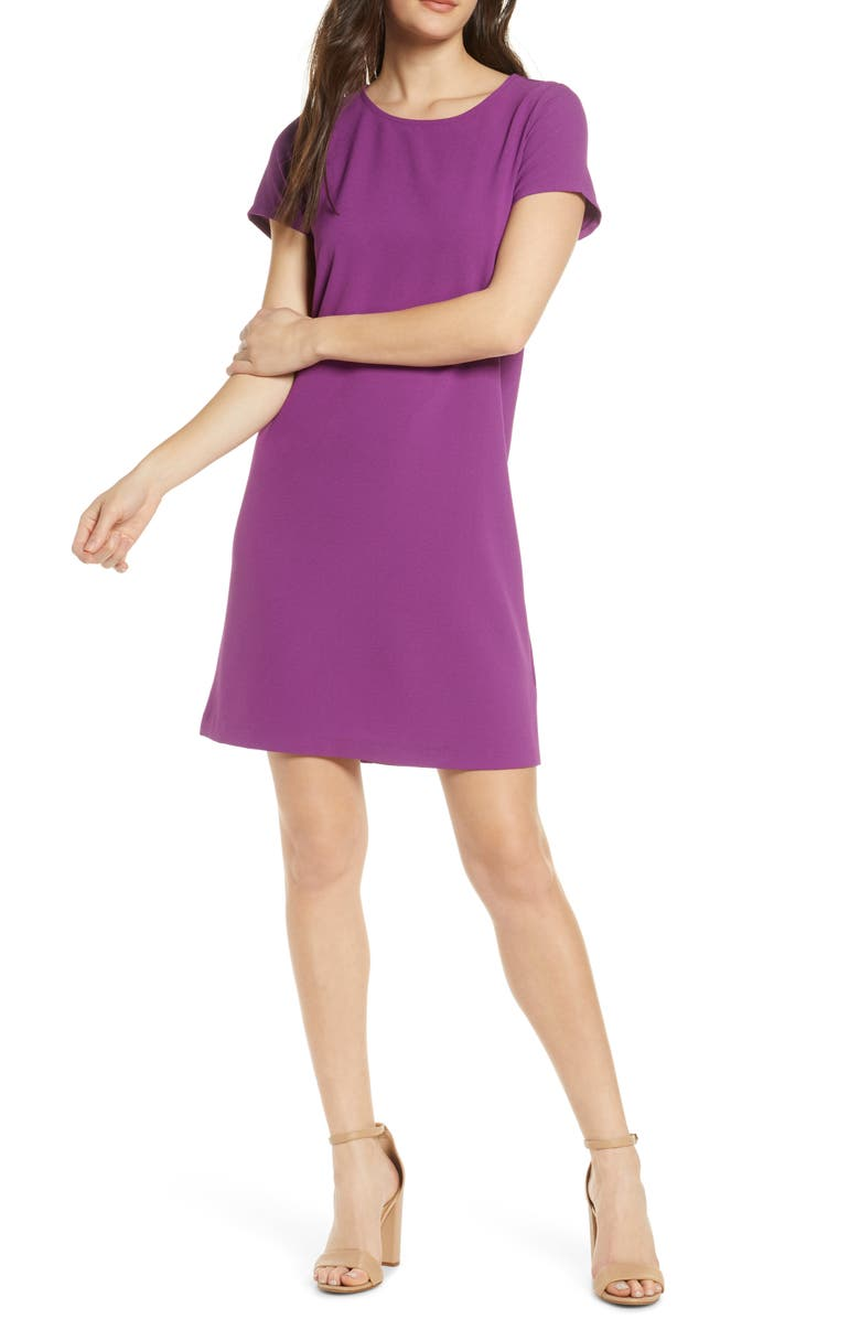 CHELSEA28 Crepe Shift Dress, Main, color, PURPLE ORB