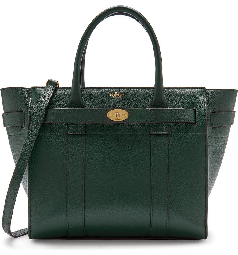 MULBERRY Small Zip Bayswater Classic Leather Tote, Main, color, MULBERRY GREEN