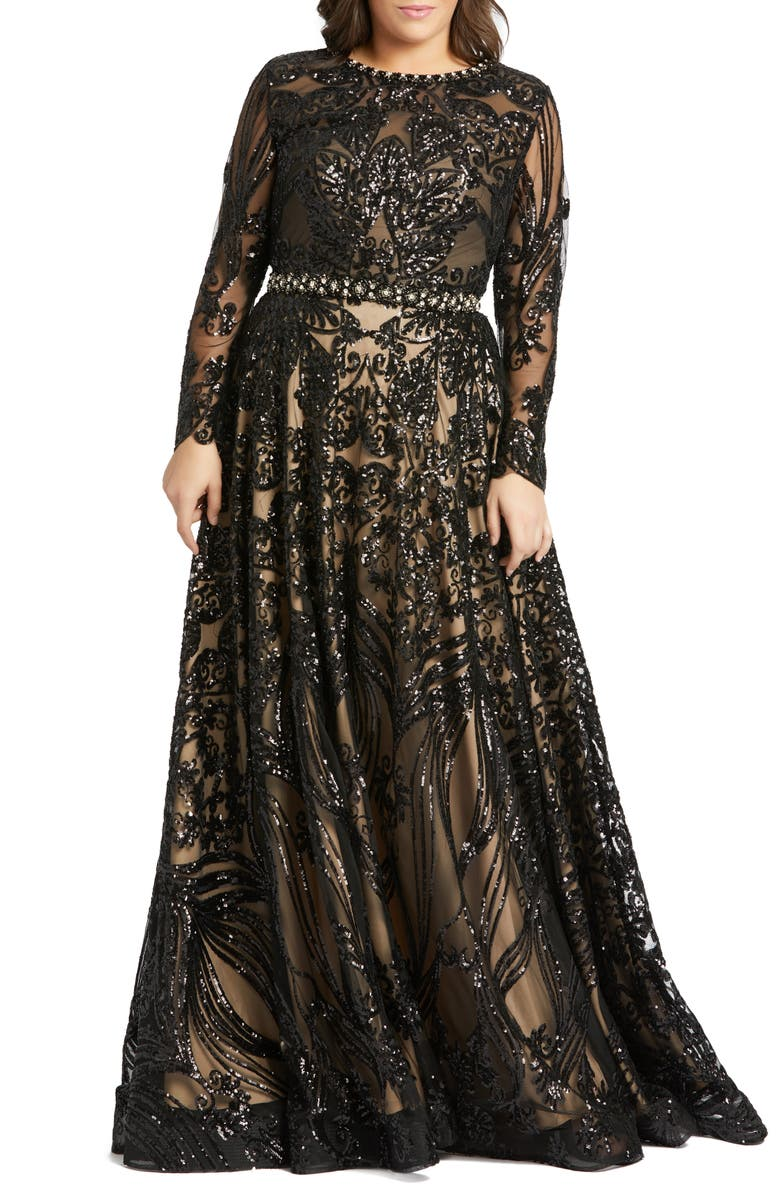 MAC DUGGAL Sequin Burnout Long Sleeve Ballgown, Main, color, BLACK NUDE