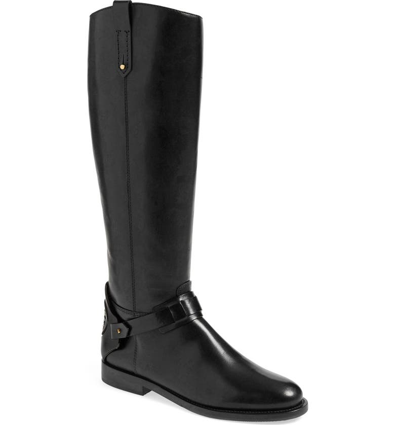 TORY BURCH 'Derby' Leather Riding Boot, Main, color, BLACK LEATHER