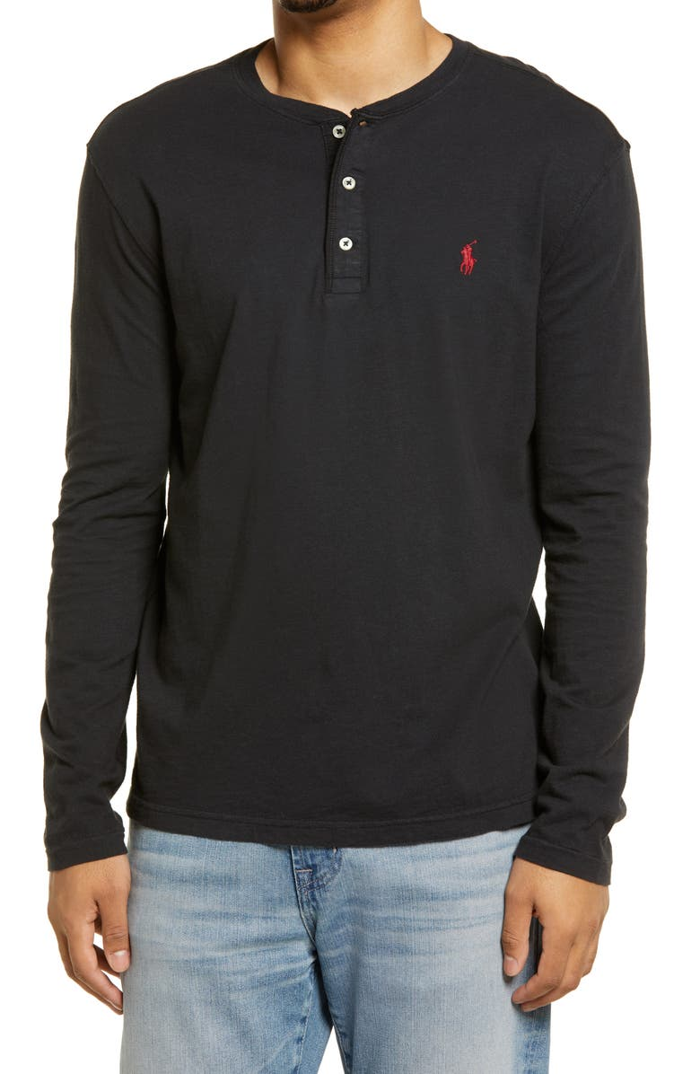 POLO RALPH LAUREN Men's Long Sleeve Henley T-Shirt, Main, color, POLO BLACK