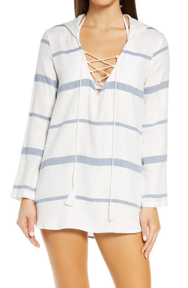 BILLABONG Same Story Hooded Cover-Up Tunic, Main, color, COOL WIP