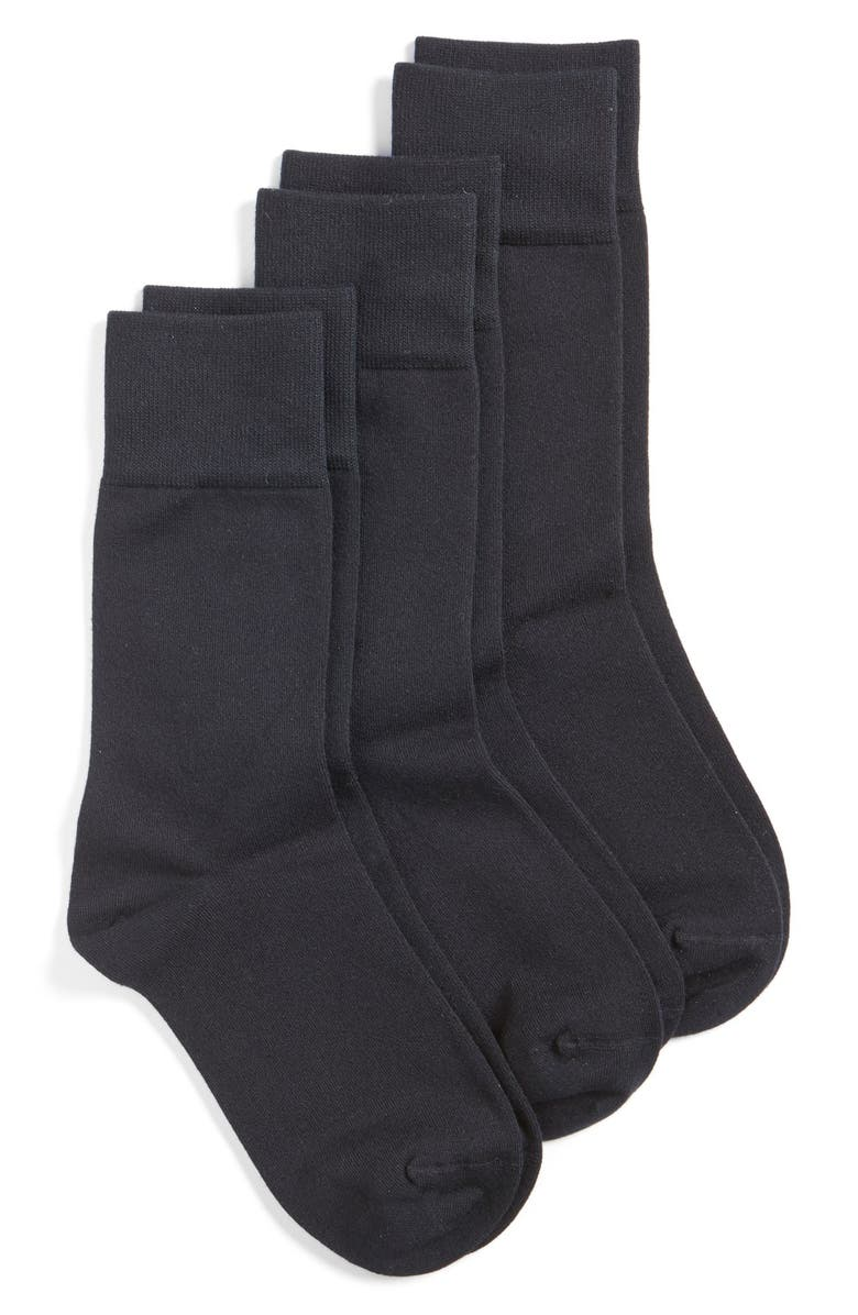 NORDSTROM Crew Socks, Main, color, BLACK