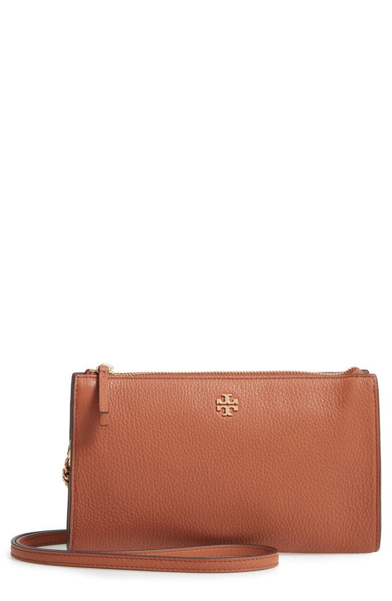 TORY BURCH Pebbled Leather Top Zip Crossbody Bag, Main, color, 200