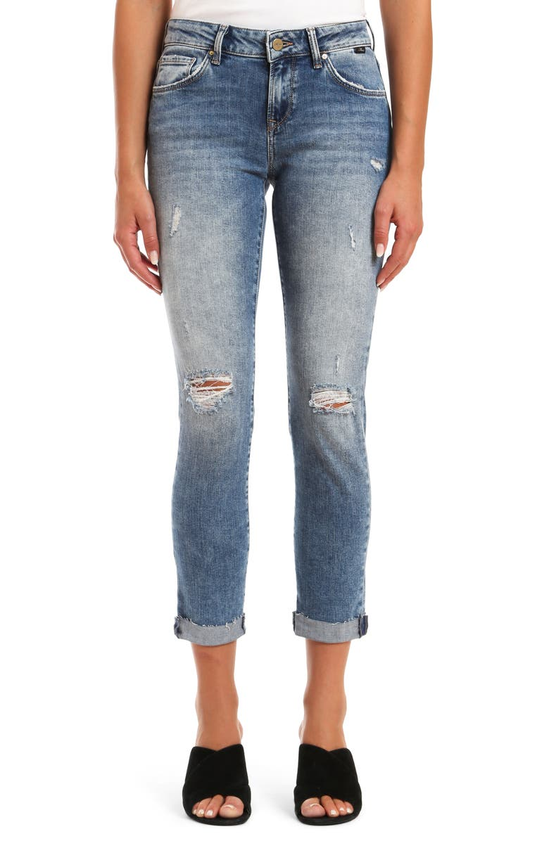 MAVI JEANS Ada Ripped Ankle Skinny Jeans, Main, color, USED RIPPED FRINGE VINTAGE