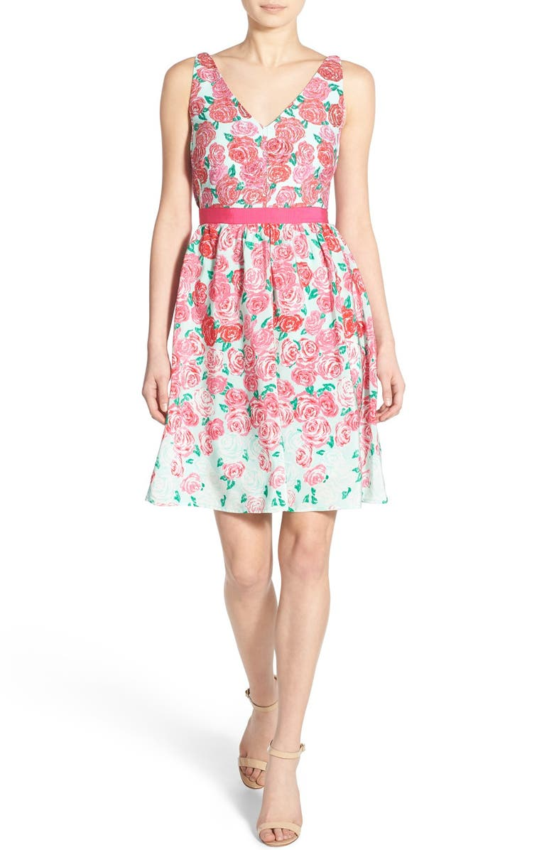 VINEYARD VINES 'Run for the Roses' Silk Fit & Flare Dress, Main, color, 650