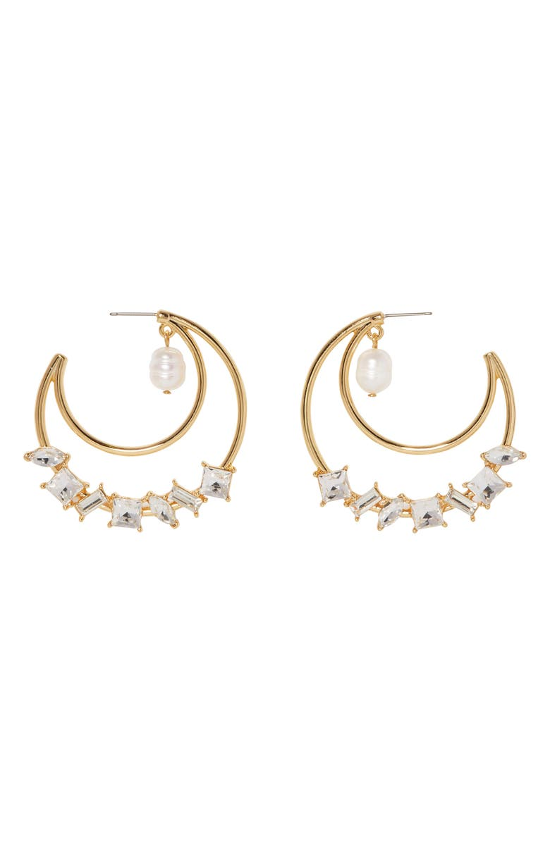 VINCE CAMUTO Hoop Earrings, Main, color, GOLD/CRYSTAL/IVORY PEARL