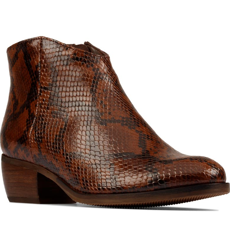 CLARKS<SUP>®</SUP> Mila Myth Ankle Boot, Main, color, TAN SNAKE PRINT LEATHER