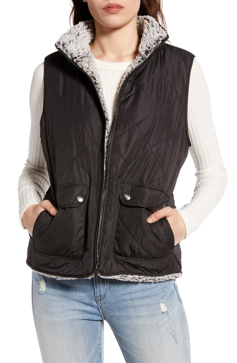THREAD & SUPPLY Wubby Reversible Fleece Lined Quilted Vest, Main, color, 001