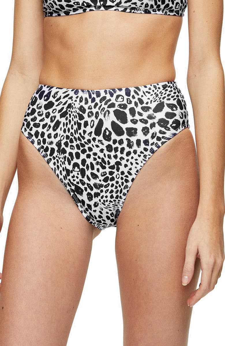 TOPSHOP Spot High Waist Bikini Bottoms, Main, color, 002