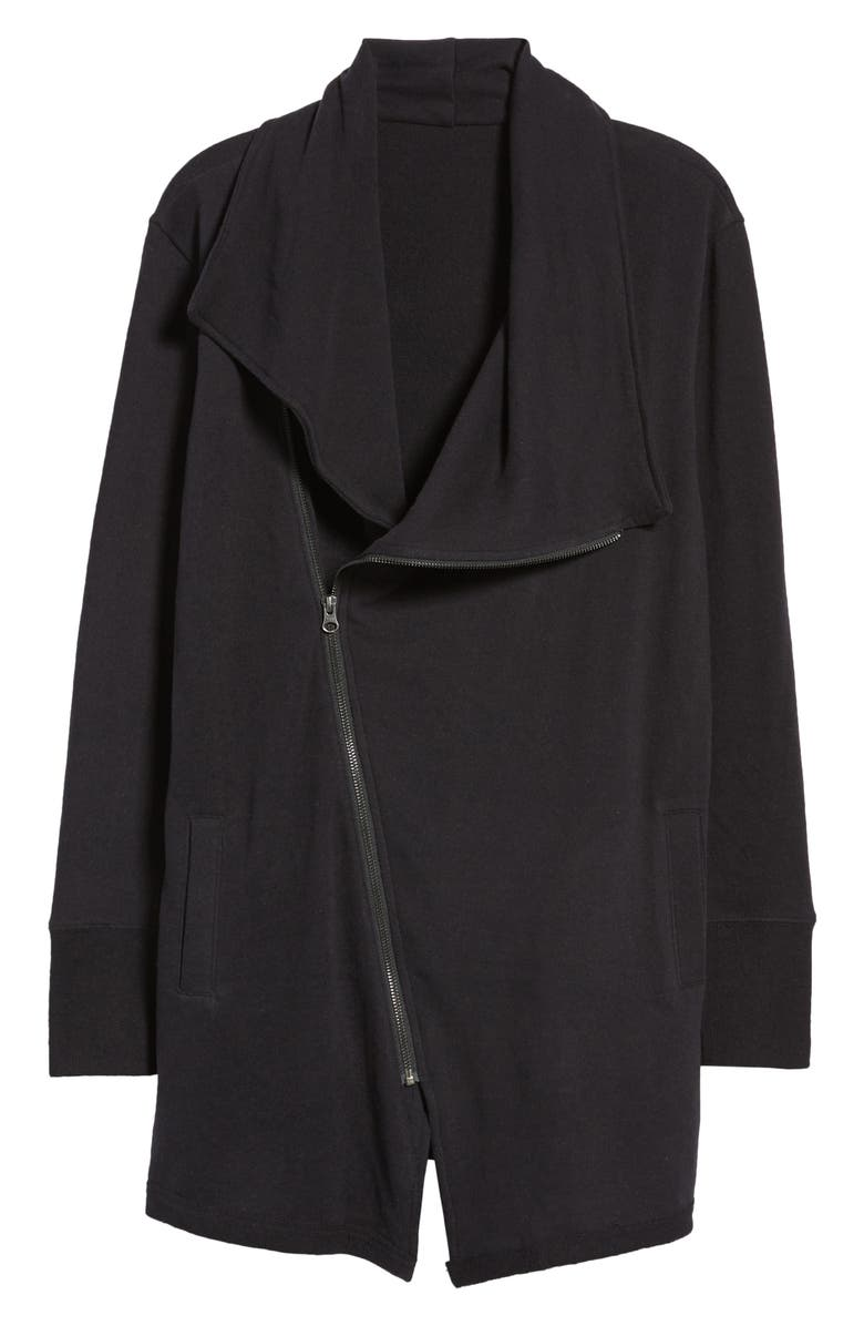 CASLON<SUP>®</SUP> Asymmetrical Drape Collar Terry Jacket, Main, color, 001