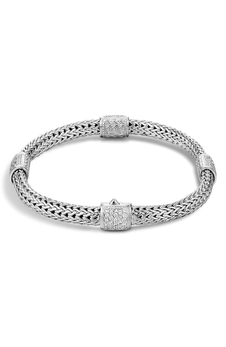 JOHN HARDY Diamond Pavé Stations Chain Bracelet, Main, color, SILVER/ DIAMOND