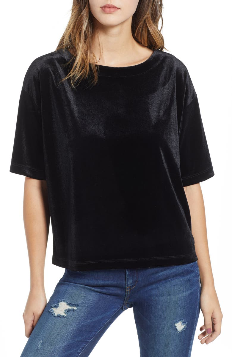 SOCIALITE Velvet Tee, Main, color, 001