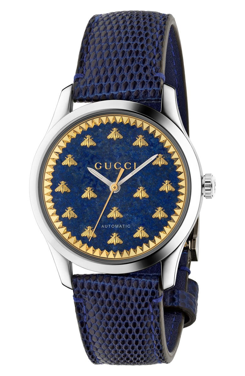 GUCCI Bee Automatic Leather Strap Watch, 38mm, Main, color, BLUE/ GOLD/ SILVER