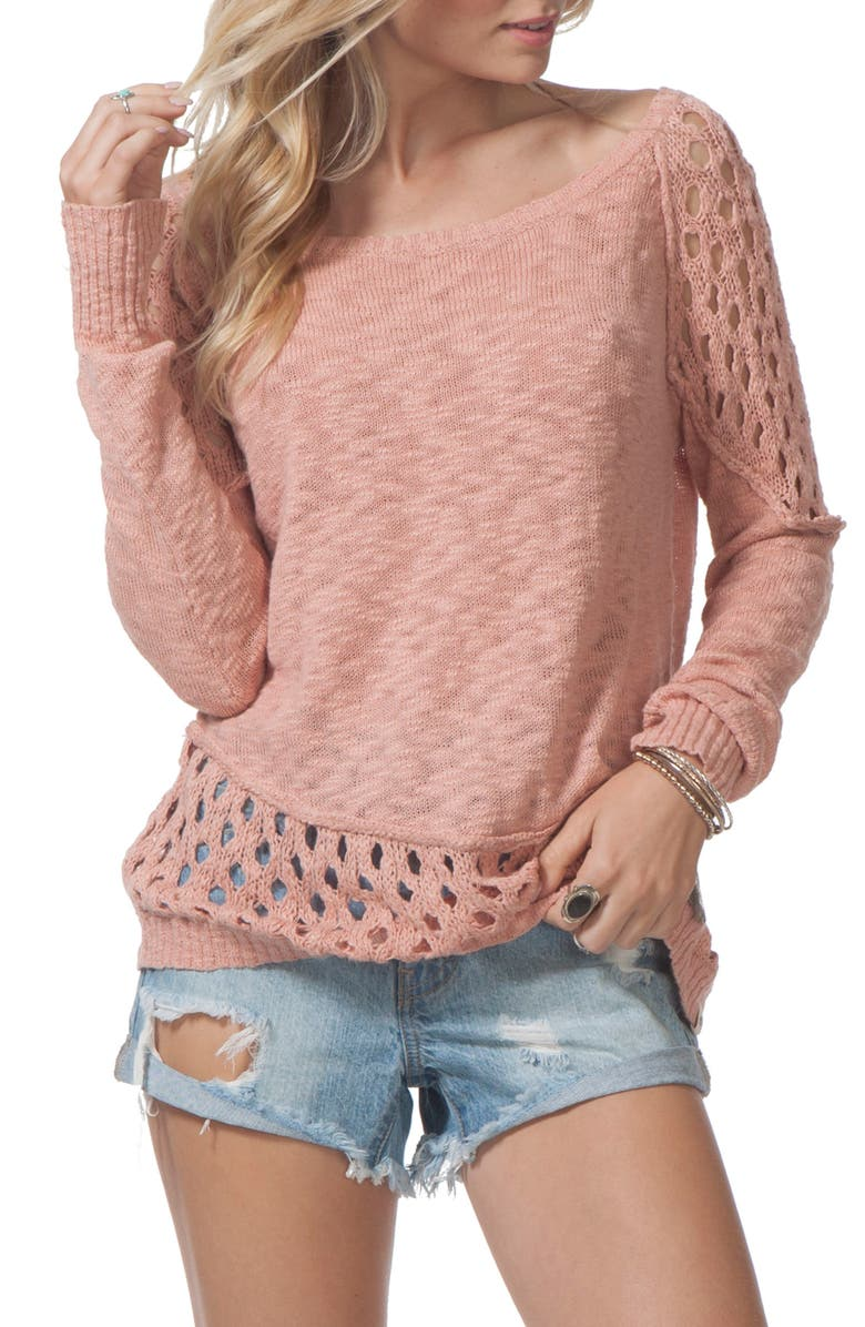 RIP CURL Moonshine Cotton Pullover, Main, color, DUSTY ROSE