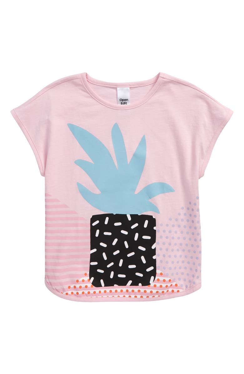 OPEN EDIT Kids' Organic Cotton Graphic Tee, Main, color, PINK OPAL PLANT