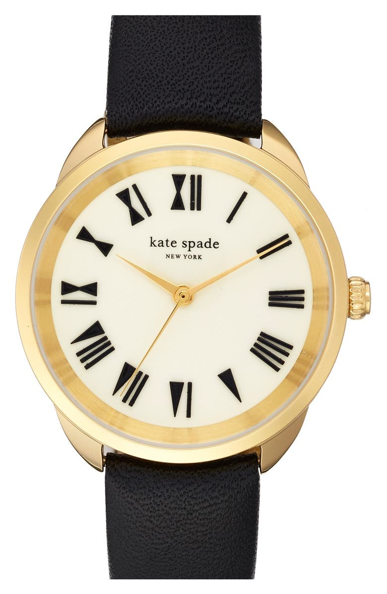 KATE SPADE NEW YORK 'crosstown' leather strap watch, 34mm, Main, color, 001