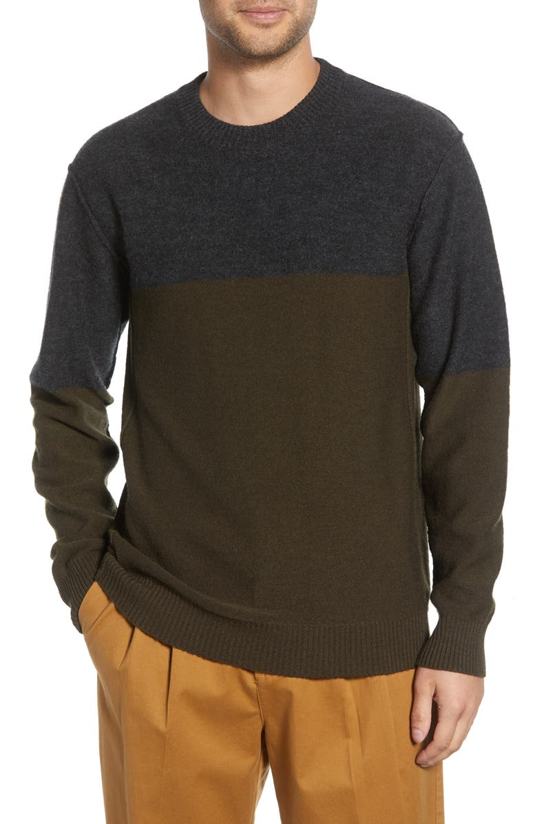 FRENCH CONNECTION Regular Fit Felted Wool Blend Sweater, Main, color, LODEN GREEN/ DARK GREY MELANGE