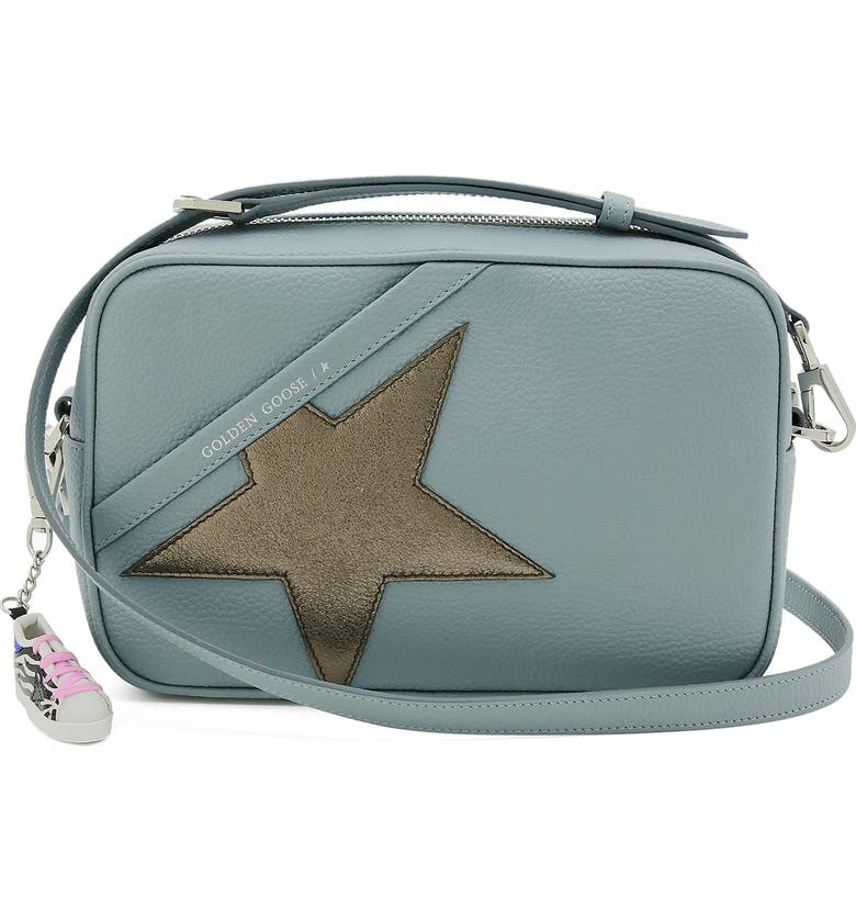 GOLDEN GOOSE Star Leather Camera Bag, Main, color, CELADON/ DARK SILVER
