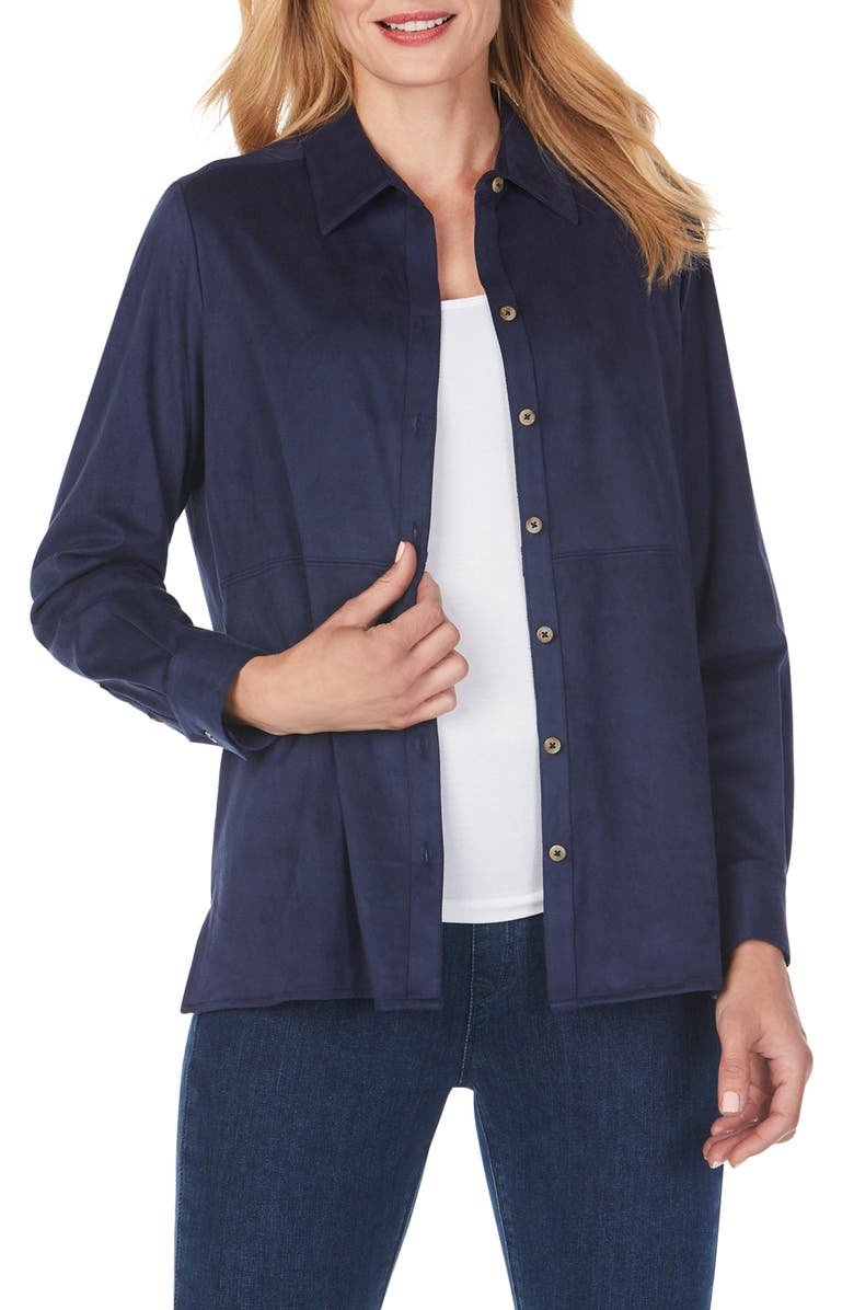 FOXCROFT Journey Faux Suede Shirt Jacket, Main, color, NAVY
