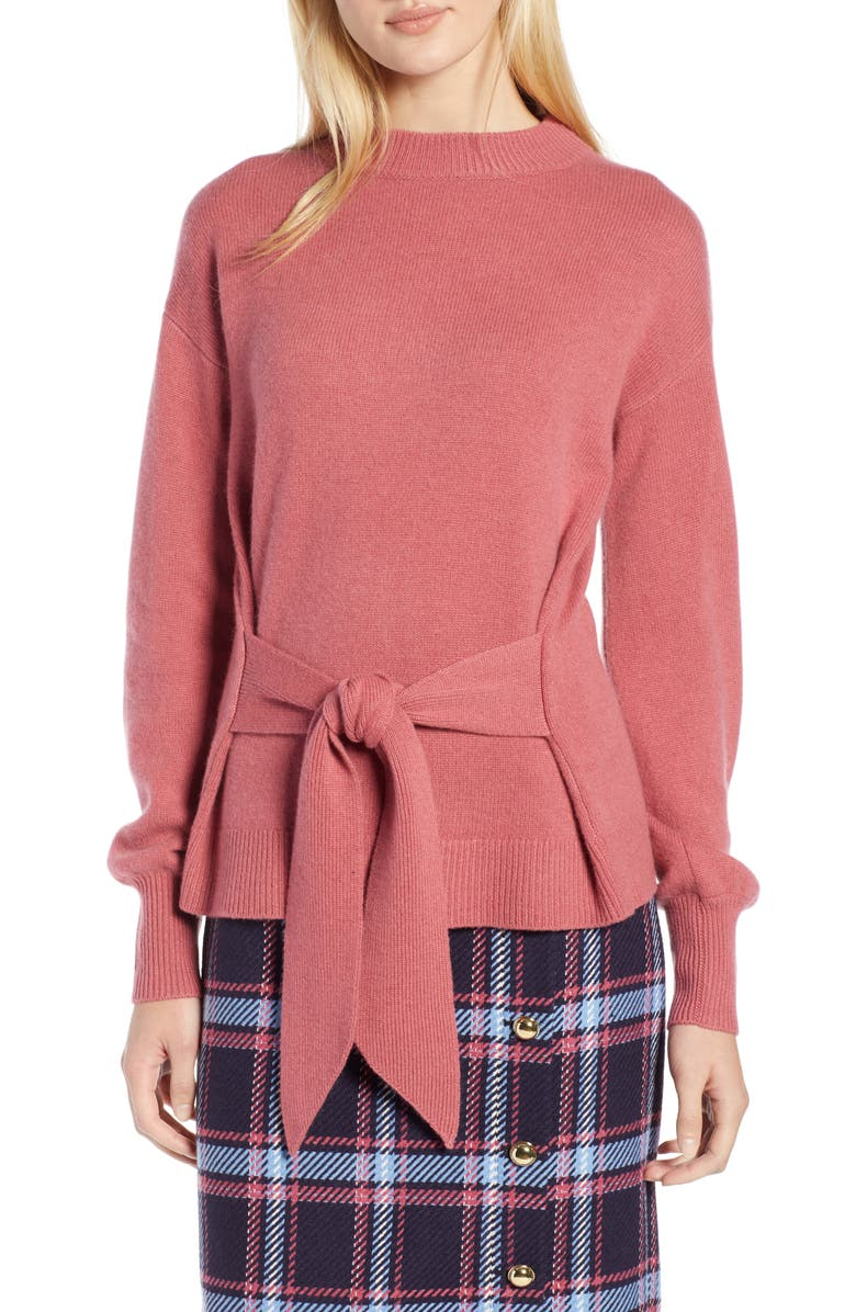 HALOGEN<SUP>®</SUP> x Atlantic-Pacific Wool and Cashmere Blend Tie Sweater, Main, color, PINK MAUVE