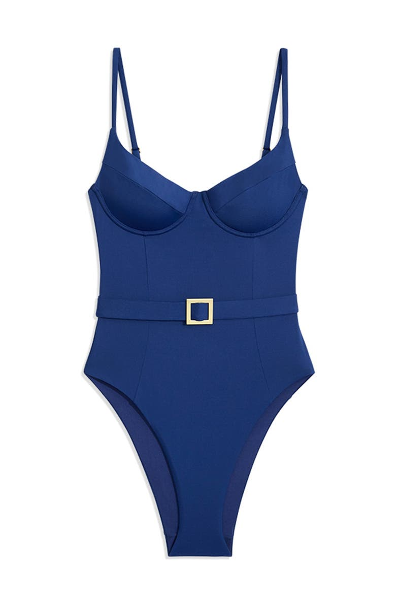 WEWOREWHAT Danielle Belted One-Piece Swimsuit, Main, color, 414