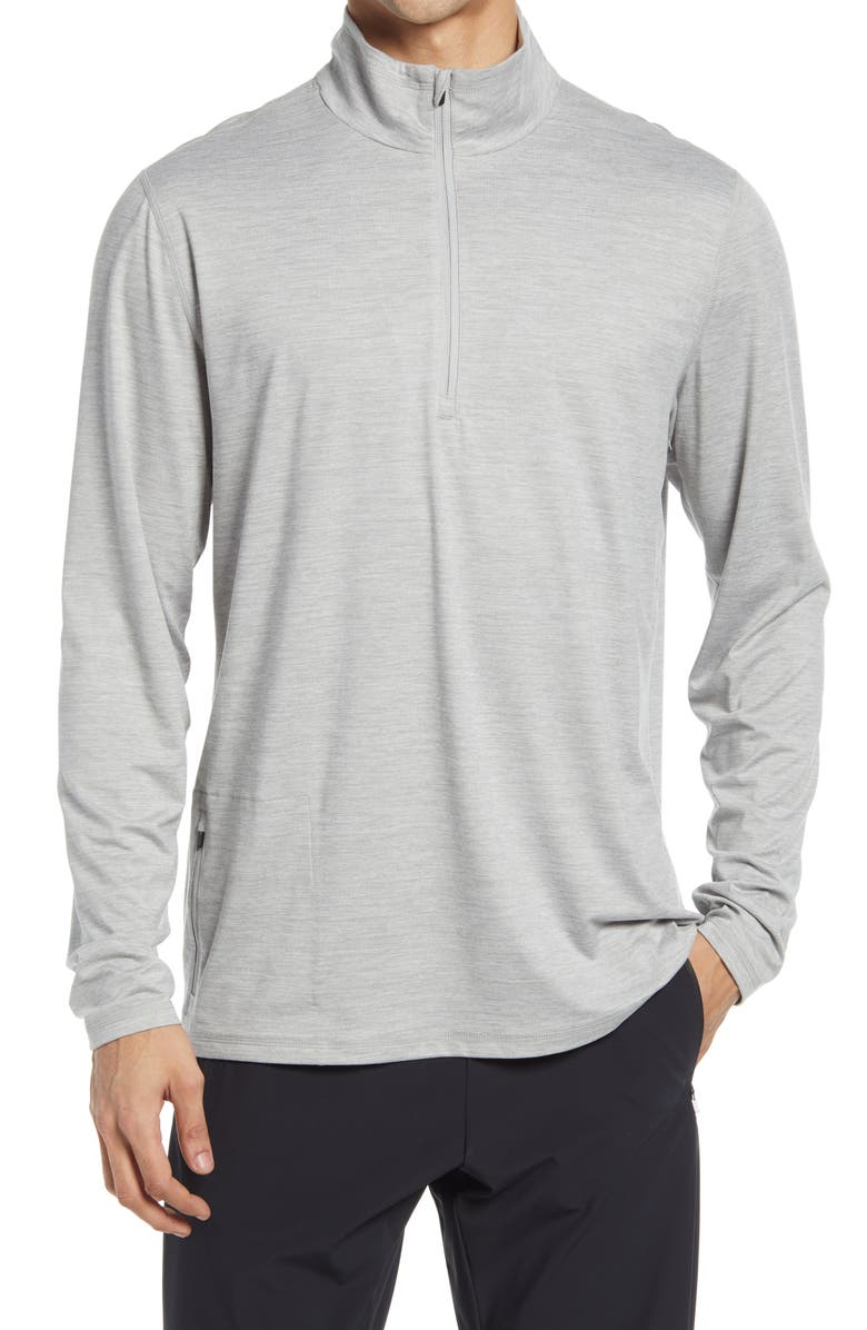 VUORI Ease Performance Half-Zip Pullover, Main, color, LIGHT HEATHER GREY