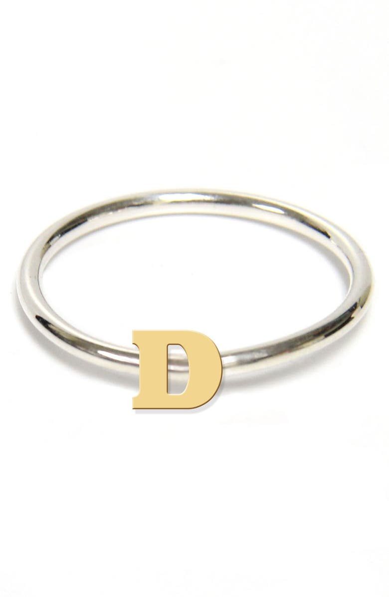 JANE BASCH DESIGNS Two-Tone Initial Ring, Main, color, GOLD- D
