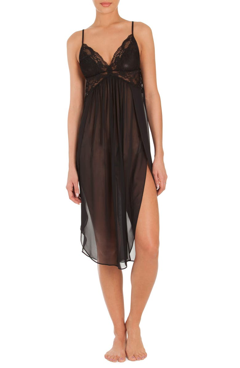 IN BLOOM BY JONQUIL Long Chemise, Main, color, BLACK