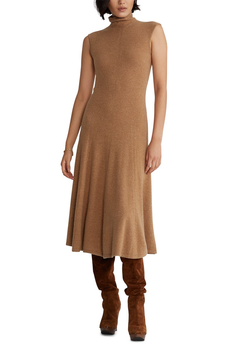 POLO RALPH LAUREN Turtleneck Fit & Flare Cashmere Midi Dress, Main, color, COLLECTION CAMEL MELANGE