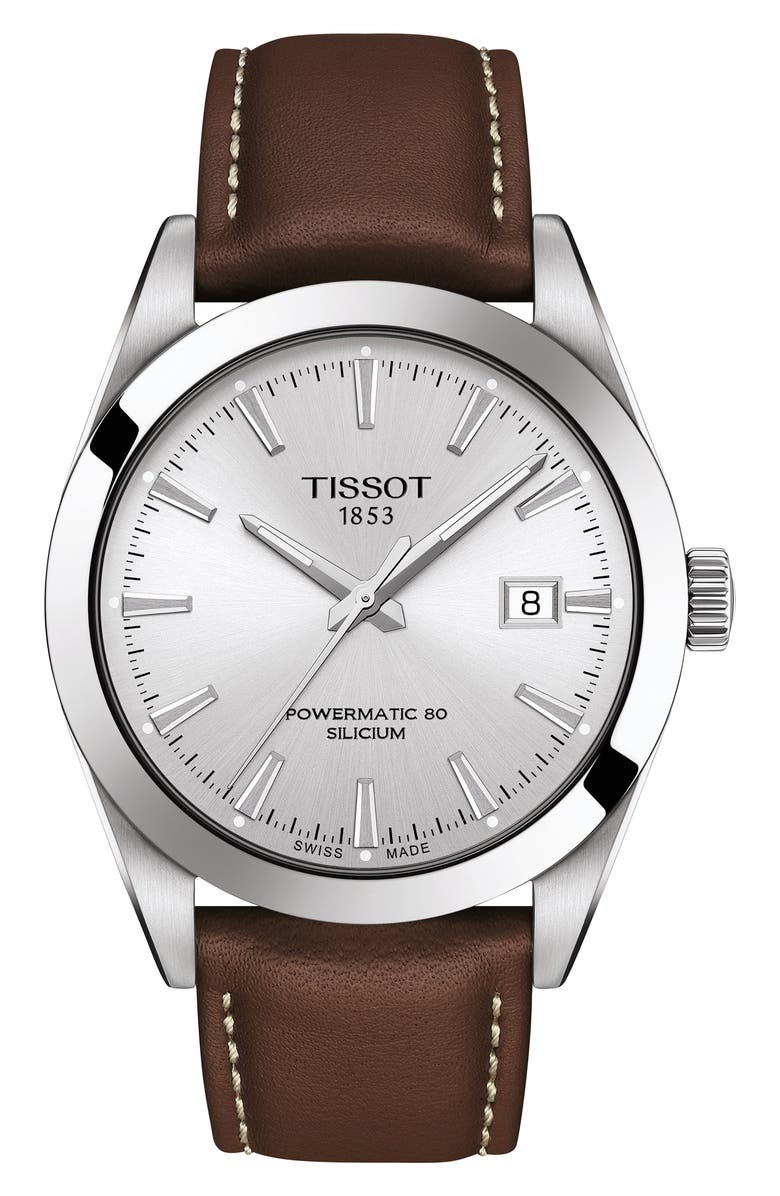 TISSOT T-Classic Powermatic 80 Leather Strap Watch, 40mm, Main, color, BROWN/ SILVER